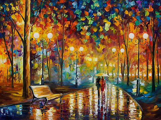 Rain Rustle - Original Oil On Canvas by Leonid Afremov by Leonid  Afremov
