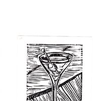 Classic Martini linocut by katemaindonald