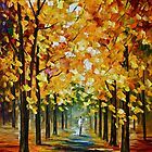 The Gold Of Fall - Original Art Oil Painting By Leonid Afremov by Leonid  Afremov