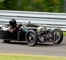 Vintage Morgan three wheeler on the track by Brian Ach