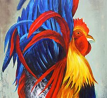 Rooster Showing Off by Dominica Alcantara
