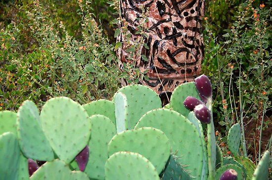 Cactus and pods with a totem pole by Ann Reece