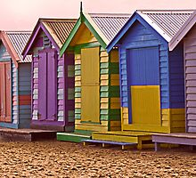 Brighton Beach Bathing Boxes  by Julia Harwood