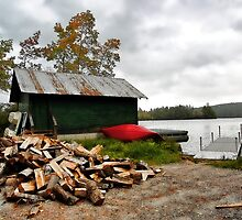 Fall at Camp - Kezar Lake,  Maine by T.J. Martin