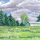 Field and trees Landscape by ArtLuver