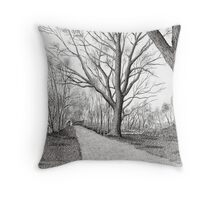 GOLDEN FROSTY TREES Throw Pillow