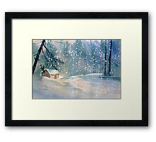 Cottage in the Snow Framed Print
