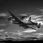 Lancaster Bomber On Night Raid by John Hooton