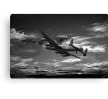 Lancaster Bomber On Night Raid Canvas Print