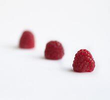 Three raspberries by Alice Kent