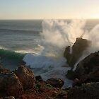 Portugal storm waves over the cliifs by Christa Knijff
