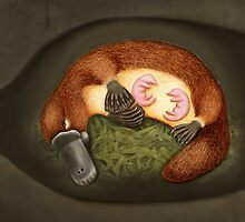 Platypus Life Cycle - Mother nursing babies by Karen  Hull