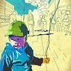 Boy and balloon by Tepa Lahtinen