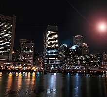Night view on Boston Financial District  by LudaNayvelt