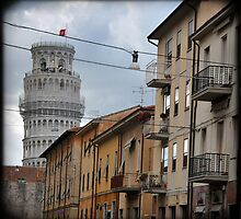 Tower of Pisa seen from street by Catherine Ames