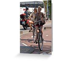 Two Girls on Bicycles Greeting Card