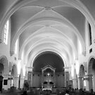 The Benedictine Sanctuary ~ Black & White by Lucinda Walter