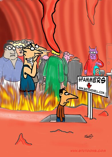 Spammers In Hell Cartoon by David Stuart