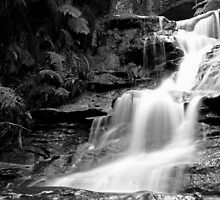 Leura Cascades in mono by Geoff Smith