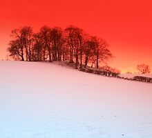 sunset over snow Upton, Chester by KJED