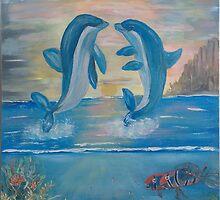 Dolphins by Mikki Alhart