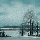 Winter in The Woods - Black And White Cont on Blue Paper by RainbowArt