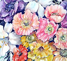 "Flower ""Tapestry"" in Watercolour Pencils by Marie Theron"