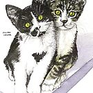 Friends - two cute kittens - tabby &amp; tuxedo by Jillian Crider