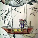 the pirate cat soared through the air in his airship in search of wonderful treasures by DravenStudios