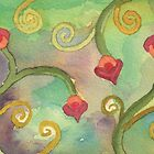 Wild Foliage - Fuchsia and Spirals by Pamela Hirsch
