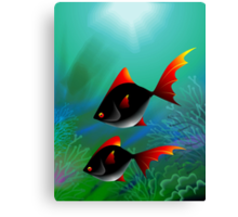 Fantasy of the fishes swimming in the sea	 Canvas Print