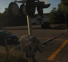Train Signal Crossing on road with cars waiting to cross by Eric Sanford