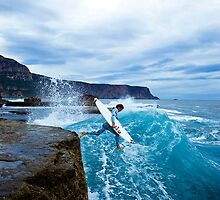 Mike Brennan Ledge Jump Shipstern Bluff by andychiz