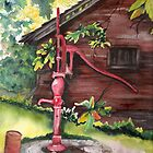 THE OLD RED PUMP LANDSCAPE PAINTING by Marsha Woods
