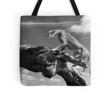 Cheetah climbing a log Tote Bag