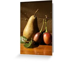 Still Life Pear and Tamerillo Greeting Card