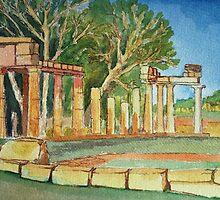 Temple of goddess Artemis in Watercolors by Kostas Koutsoukanidis