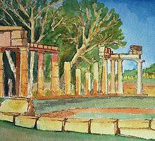 Temple of goddess Artemis in Watercolors by Kostas Koutsoukanidis