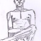 Man in Repose on Chair- Study in Pen by Kyleacharisse