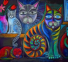 Neon Cats by Karin Zeller