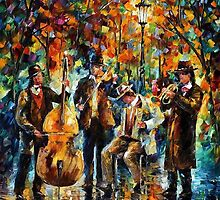 Rainy Music - original art oil painting by Leonid Afremov by Leonid  Afremov