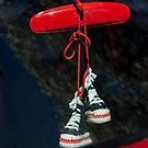 Rear View Mirror Hanging Hightops by Jill Reger