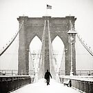 Brooklyn Bridge and Snow by Randy  Le'Moine