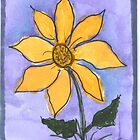 Whimsical Yellow Flower with Border on Edges by iceoriginals