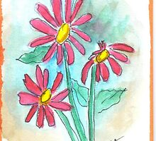 Whimsical Springtime Daisies Floral by iceoriginals