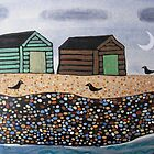 Beach Huts at night by Amanda White