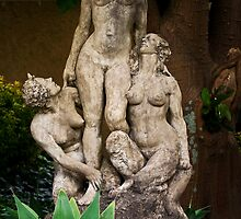 Woman standing between two crouching Satyrs by nigelphoto
