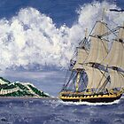 HMS Boreas Leaving Gibraltar - Captain Horatio Nelson by Dennis Melling