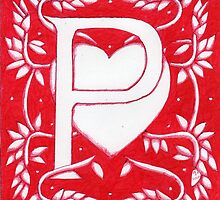 Red Heart Letter P by Donna Huntriss