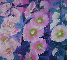 hollyhocks trio by zhenlian